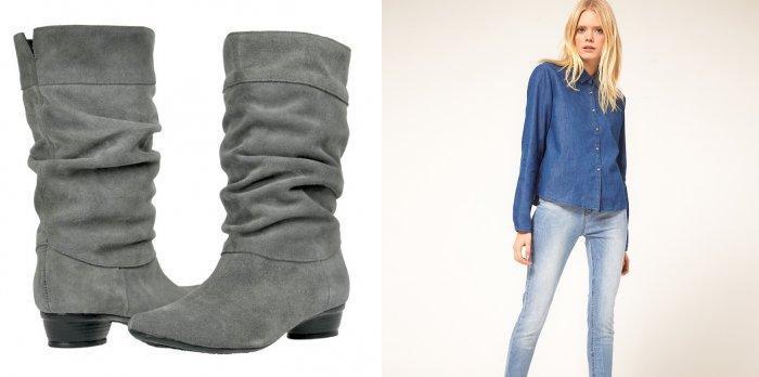 Стильные серые замшевые полусапожки и голубые джинсы