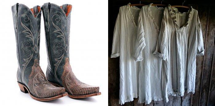 Серые замшевые ковбойские сапоги и блузка в стиле бохо