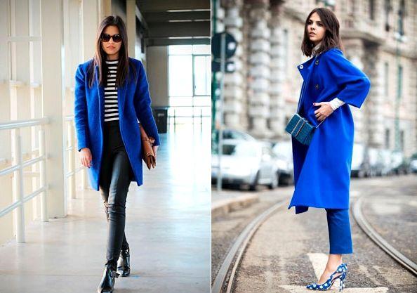С чем носить синее пальто?