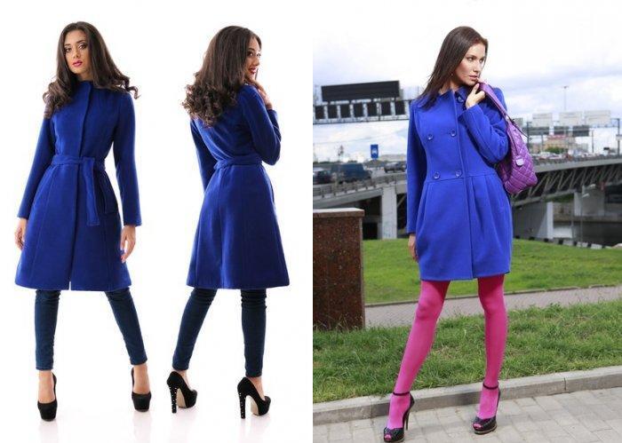 Приталенное синее пальто