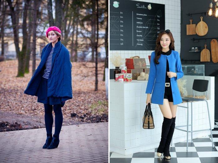 Укороченное синее пальто прямого покроя