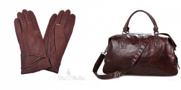 Коричневые кожаные перчатки и сумка для синего пальто