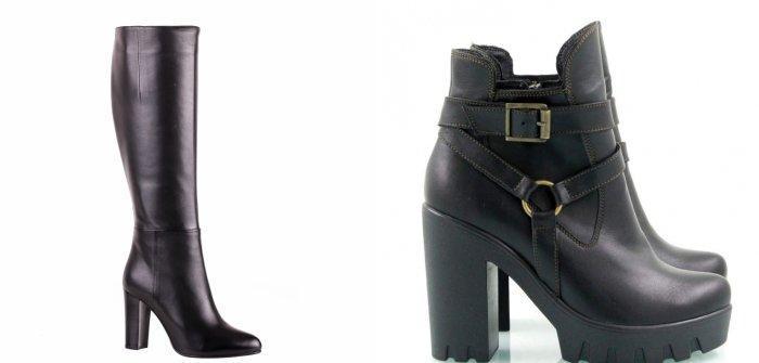 Классические сапоги на каблуке и черные ботильоны
