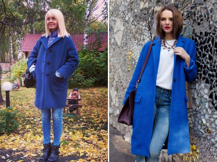Синее пальто из шерсти стиля оверсайз
