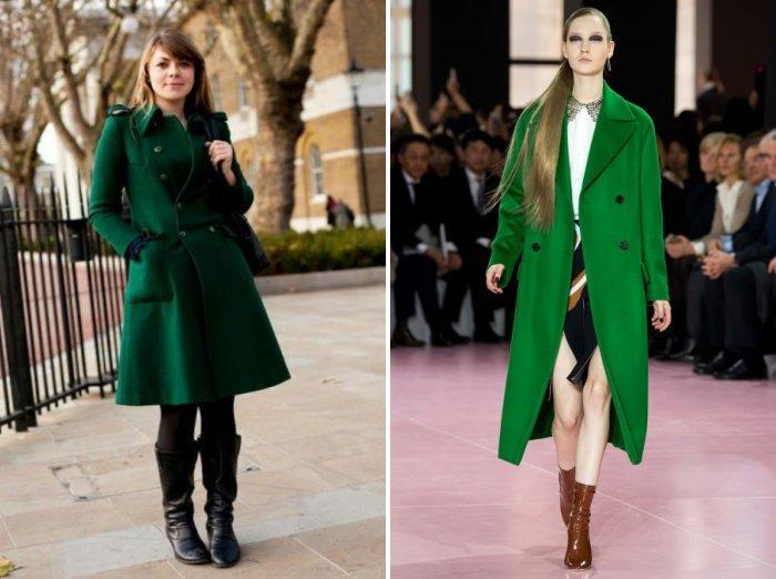Модное зеленое пальто