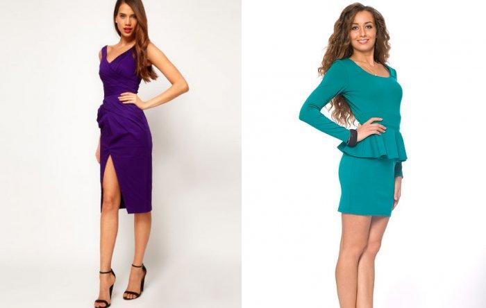 Фиолетовое и бирюзовое платье-футляр для зеленого пальто