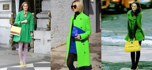 Зеленое пальто с яркими сумочками