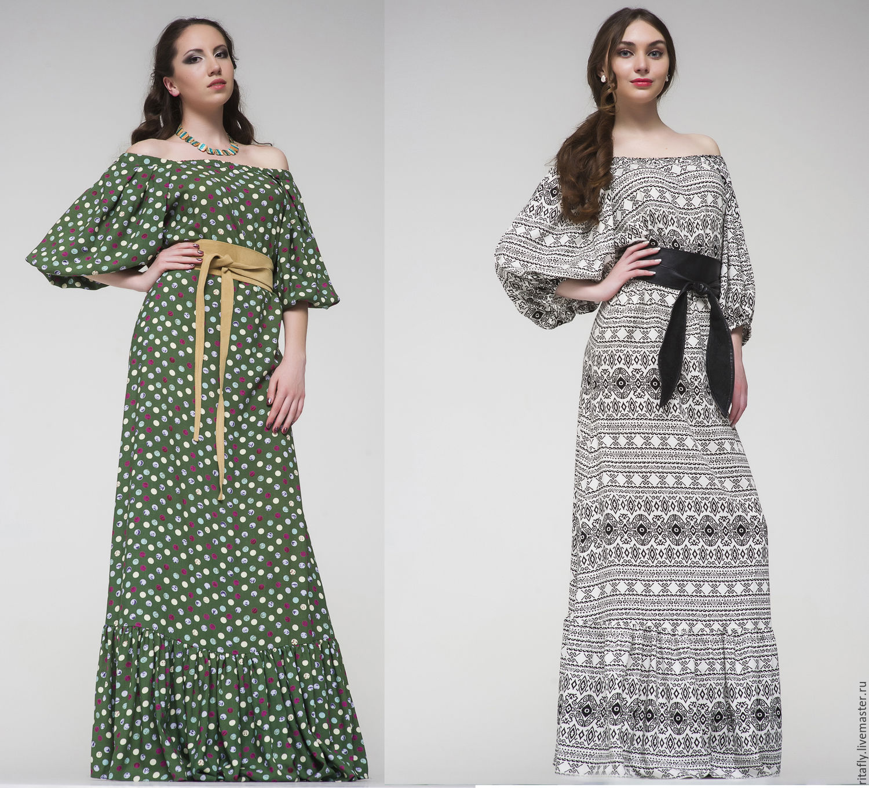 Платье с принтом длинное