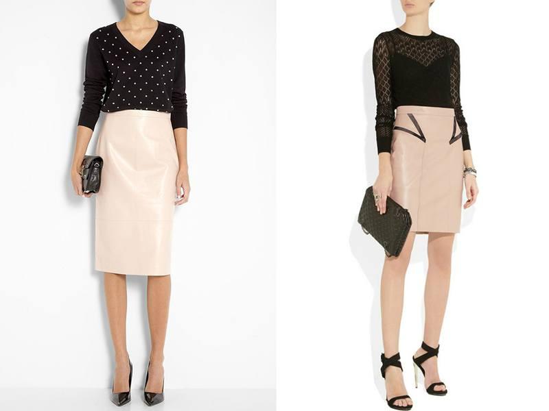 Черная кофта и бежевая юбка