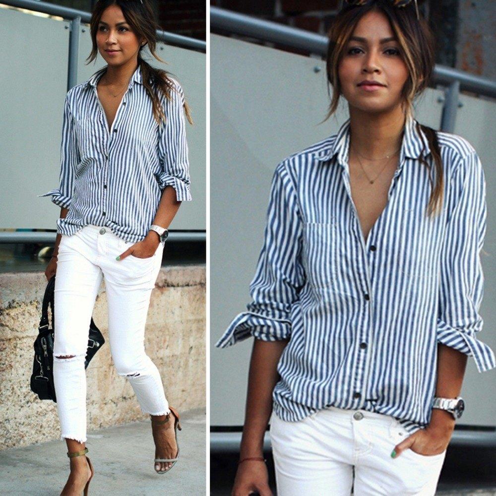 Рубашка и белые штаны
