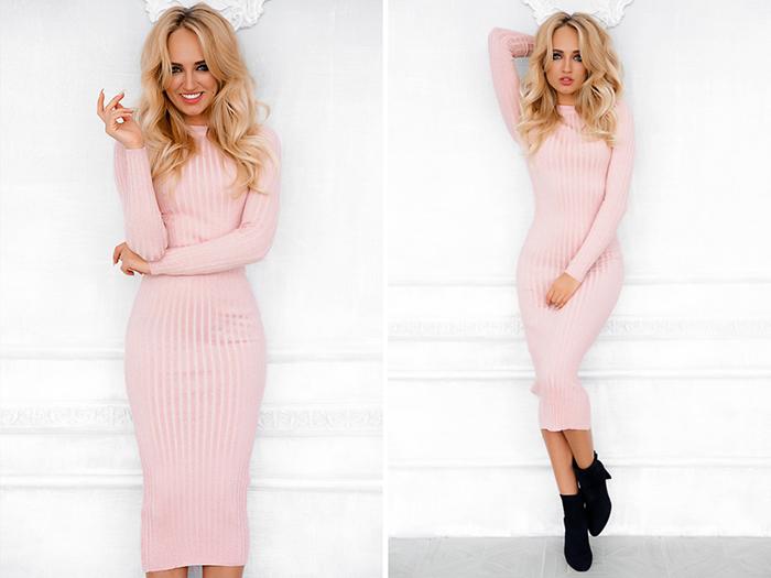 Розовое платье-лапша