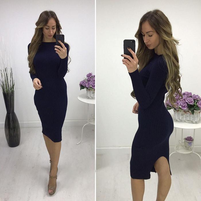 Платье-лапша с разрезом сзади