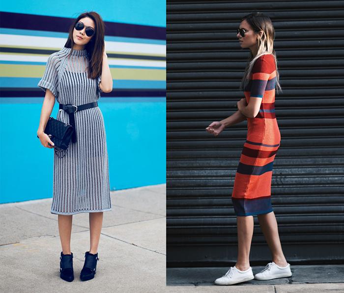 Платье-лапша с разной обувью