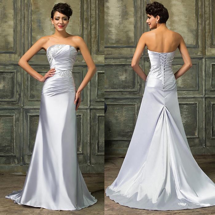 Вечернее платье в пол серебристого цвета