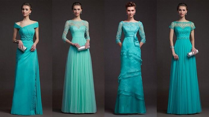 Бирюзовые вечерние платья